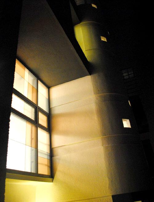 Light washing the stone exterior.